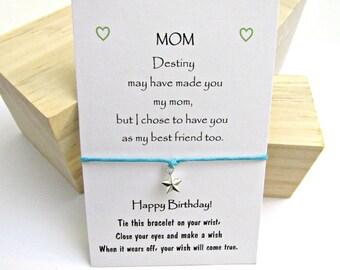 Gift for Mom, Mom birthday gift, Make a Wish Bracelet, Wish bracelet