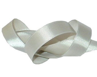 "5/8"" Timber Wolf Grey Satin Ribbon, Single Face Satin Ribbon, 1960's Vintage Sewing Millinery Supply"