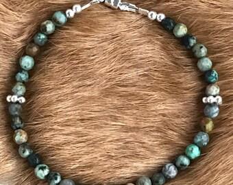 4mm African Turquoise & Karen Hill Tribe Silver gemstone bracelet