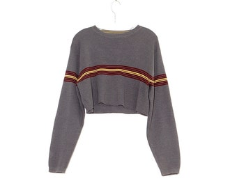 90s STRIPED CROP TOP 90s grunge kurt Cobain nirvana cropped sweater knit sweater oversized sweater skater boyfriend sweater 90s clothing