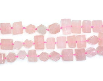0385 Faceted Rose quartz nuggets loose beads 16""