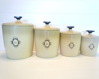 Vintage WestBend Metal Canisters, Flour, Sugar, Coffee, Tea, Canister Set, Kitchen Storage