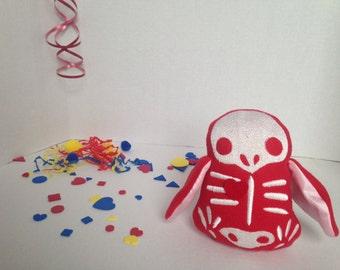 Valentine bird skeleton plush toy, red plush bird, skeleton penguin soft toy, skelly bird plushie with heart