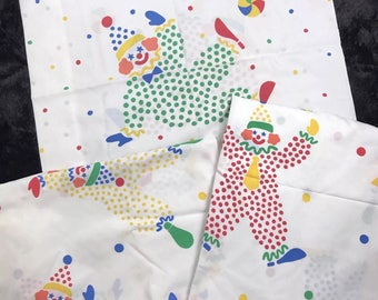 Vintage Springmaid Twin Bedsheet Set White With Dot Clowns Fitted Flat Pillowcase