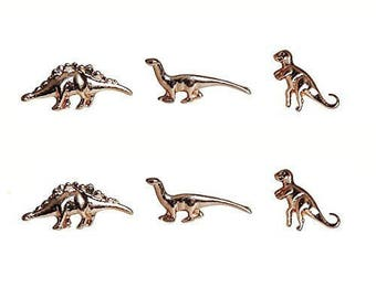 Art Attack Goldtone Delicate Mini Petit Dinosaur Jurassic T Rex Brontosaurus Dragon Stegosaurus Stud Post Multiple Earrings Set