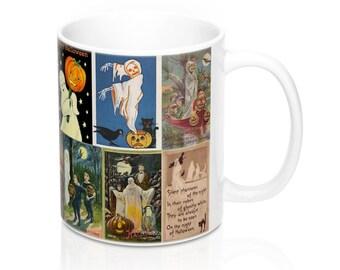 Vintage Halloween Ghost Postcards Graphic Coffee Mug 11 or 15 oz.