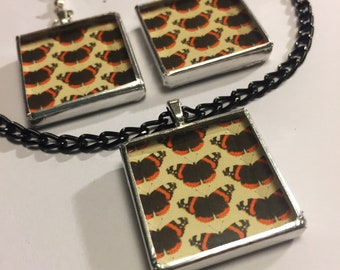 ORANGE n BLACK BUTTERFLY jewelry- glass necklace and/or earrings