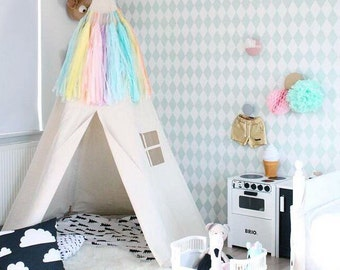 Teepee Tent, BIG teepee, Plain fabric tent and flags only, canvas tipi, childrens teepee, beautiful teepee tent, nursey decor, large teepee