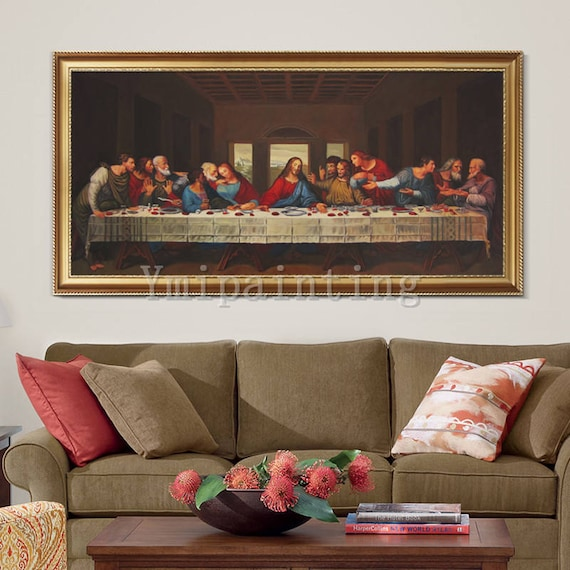 Last Supper wall art Painting Christ On Canvas catholic on albert einstein home, chuck close home, william shakespeare home, thomas jefferson home, claude monet home, sir francis drake's home, robert owen home, carlo gambino's home, walt disney's home, salvador dali home, michelangelo home, da vinci's home, vincent van gogh home, oil painting home,