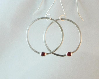 Sterling Silver Hoop Earrings with Choice of Gemstone