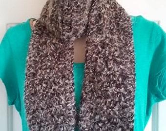 Crochet Scarf - Furry Black, Gray, Tan and Rose