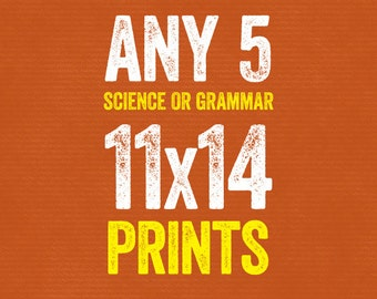 Set of Any 5 11x14 Prints - Grammar or Science - Grammatical Art Home Decor Gift Teacher Gift / Gifts for Teachers English Gifts