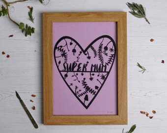 Super mum paper cut, mother's day present, mum gift, paper cut, gifts for her, gifts for mum, home decor, gifts for new mum