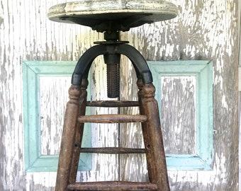 Vintage Wood Stool Adjustable Wood Metal Farmhouse Kitchen
