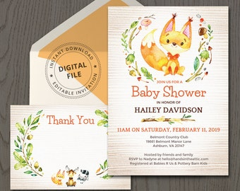 Woodland themed baby shower invitation, woodland critters friends fox animals, printable invite template thank you card PDF download DIGITAL