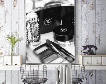 Beautiful Chanel Bathroom Art Large Canvas Art Black And White Photography, Makeup  Print, Beauty Prints