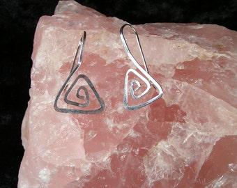 Triangle Spiral Hooks, Sterling Silver, Handmade