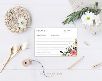 Printable Floral Recipe Cards, Bridal Shower Insert, Black, Floral - Ashley - INSTANT DOWNLOAD PDF File