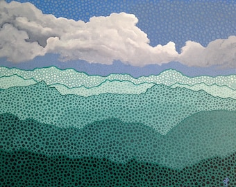 "Emerald Dream Original Acrylic Painting Mountains Sky Clouds of Original Design 16"" x 20"""