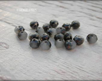Beads 4 mm Abacus black and grey beads X 25