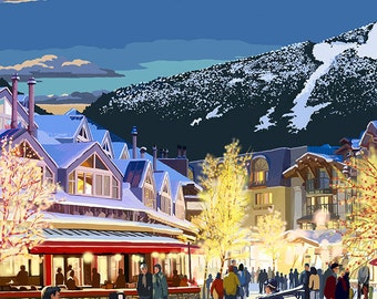 Village Scene - Whistler, Canada (Art Prints available in multiple sizes)