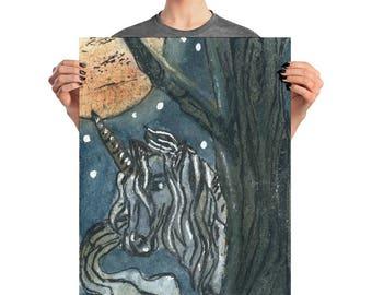 Unicorn Print   Unicorn Painting  Red Moon Painting wall art