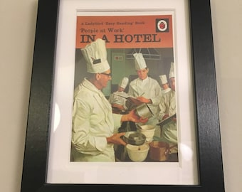 Retro Ladybird Book cover. In A Hotel