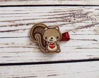 Handcrafted Glitter Valentines Squirrel Glitter Feltie Clip - Small Hair Clip - Sparkly Valentines Bow - Toddler Hair Clip - Cute Gift Tags