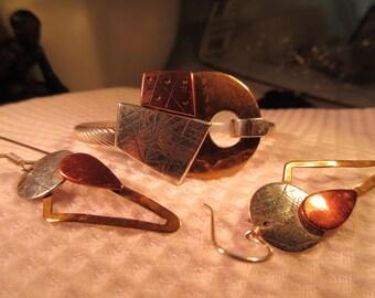 Modernist Sterling Silver Brass & Copper Bracelet and Earrings