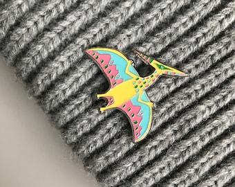Dinosaur Pin - Pterodactyl Pin, Enamel Pin Badge, Dinosaur Badge, Hat Pin, Enamel Badge, Dinosaur Gift, Lapel Pin, Dinosaur Brooch