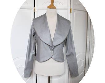 Silver grey short jacket has shawl collar, short jacket long sleeves, grey cotton jacket, jacket sleeves bolero jacket, long collar