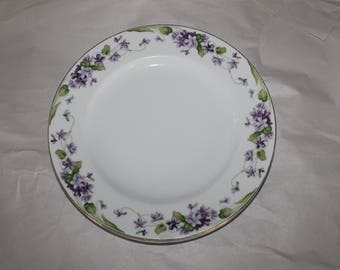 3 Noritake China Made in Japan 5163 Nancy Dinner Plates, They have a Purple Flower Design on the Edging, Beautiful, Add to your Collection