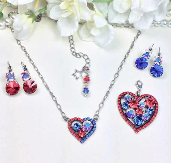 """Swarovski Crystal """" Stars & Stripes """"Heart Pendant, Large Add-On Heart and Earrings-""""  Bright Red, AB, and Sapphire Blue - FREE SHIPPING"""