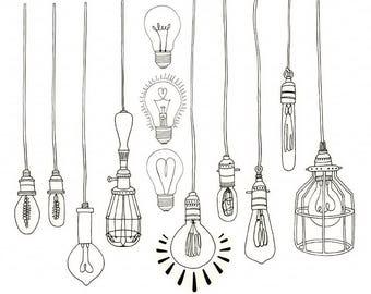 Edison Bulb, Light Bulb ClipArt, String Light Clip Art, Royalty Free Printable, Line illustration, Digital Art, Doodle PNG, Instant Download