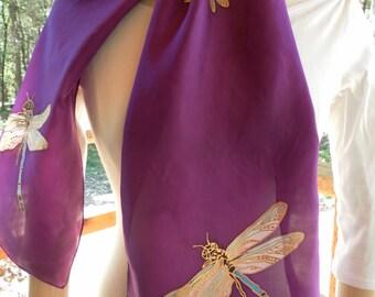 Silk Scarf Handpainted. Purple, White Hand Dyed Silk Scarf. Handmade Silk Scarf DRAGONFLIES. Rectangular 8x54. Birthday Gift.
