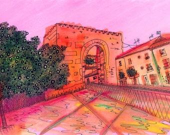 Granada Print: Puerta Elvira, Granada, Spain