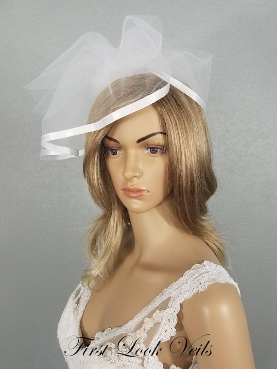 Birdcage Bridal Veil, White Wedding Veil, Wedding Cage Veil, Ivory Tulle Cage, Ribbon Edged Veil, Bridal Vail, Bridal Accessory, Accessories