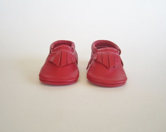 New Red Leather Moccasins