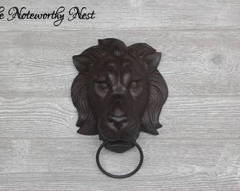 LARGE - ANY COLOR Lion Towel Ring // Towel holder // bathroom decor/ towel ring // kitchen decor // Tuscan decor // wall decor