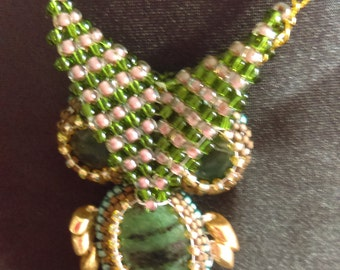 Gemstone and Seed Bead Owl Pendant Necklace