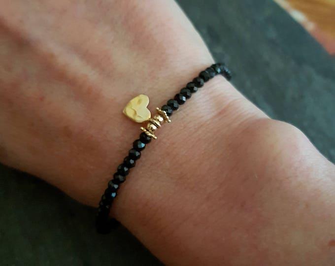 Tiny Black Spinel bracelet with 24K Gold Vermeil hammered heart