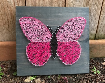 MADE TO ORDER- Butterfly String Art- Pink Butterfly