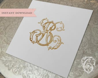 Vintage Wedding Monogram SH HS Digital Download S H