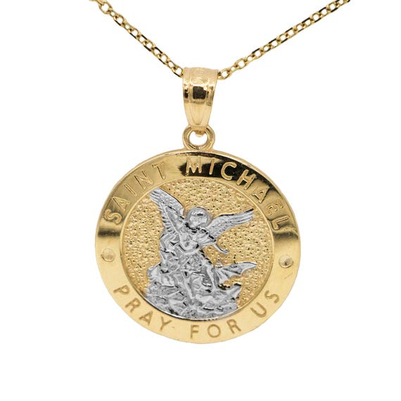 14k yellow gold saint michael pray for us medallion necklace like this item mozeypictures Image collections