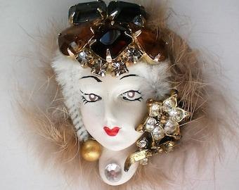 Artisan Created Lady in Fur Brooch - 5352