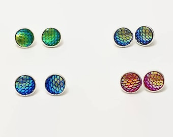Mermaid scale stud earrings, dragon or fish scale, silver iridescent earrings, fantasy jewelry, gifts for her, ready to ship, made to order