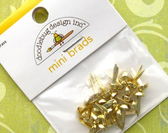 Bright Brass Mini Brads - Set of 50 (Two Packages of 25) -  4mm by 7mm Doodlebug Brand Paper Fasteners (GFD0021)