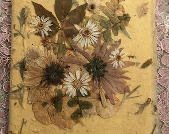 Handmade Card, Handmade Paper, Pressed Flower Collage, Happy Birthday to Dear Friend