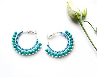 Turquoise Boho Earrings Silver Hoop Earrings with Beads Turquoise Earrings for Girlfriend Boho Gift Idea Circle Earrings Hand made Earrings