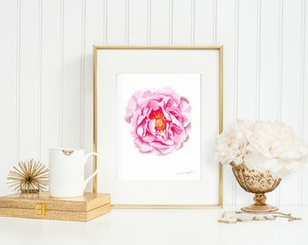 flower wall art pink peony art, floral nursery art, Mothers day from daughter, peony prints, gardener gift, botanical print, nature print